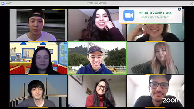 group of students stay connected via zoom.