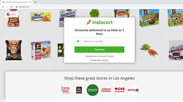 Screenshot of Instacart on a browser