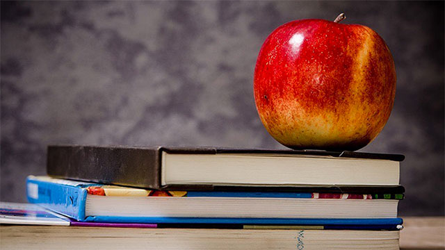 A stack of books with a red apple on top.