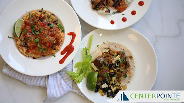 Food dishes from CenterPointe dining hall