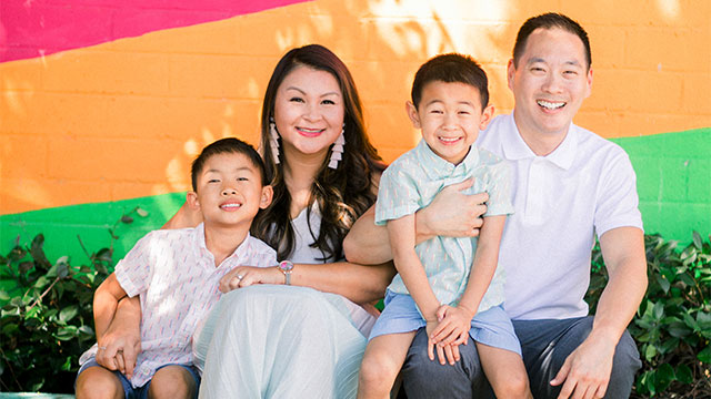 Ngoc Nguyen with her husband and two sons.