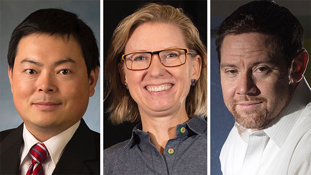 From left to right, Wen Cheng, Sarah Lorenzen and Matthew S. Povich received the highest distinction for CPP faculty in 2020.