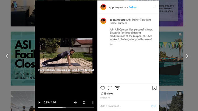 Trainer does Bupees on Instagram Account