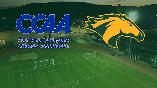 Bronco Athelitics Logo and CCAA logo over the fields at CPP.