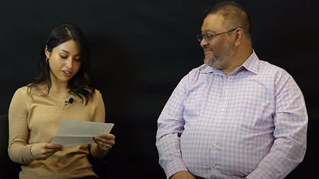 Father and Daughter read letters to each other.