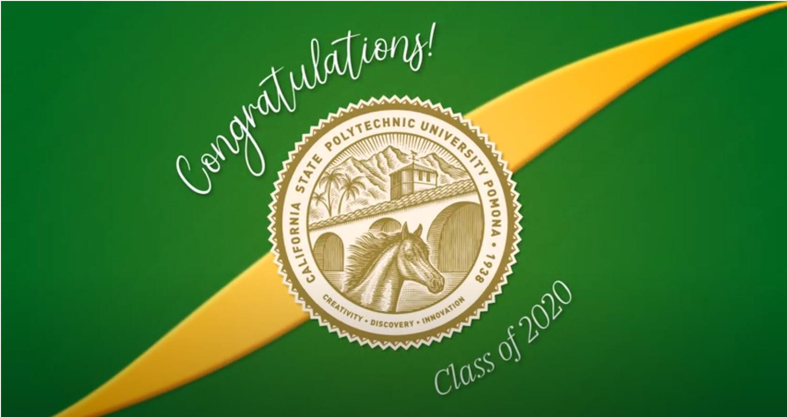 """Screenshot of title card """"Congratulations! Class of 2020"""""""