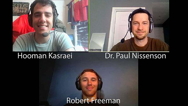 Hooman Kasraei, Dr. Paul Nissenson and Robert Freeman on a zoom call.