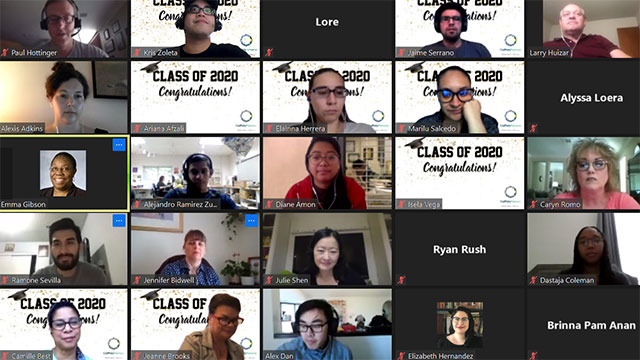 Group of the library's graduating assistants celebrating on zoom.