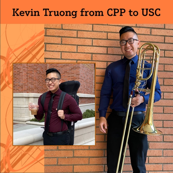Collage of Kevin Truong with his instrument.