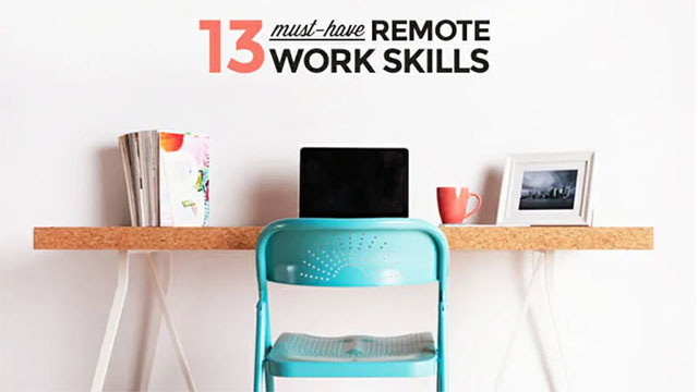 A workspace with the title 13 tips for remote working