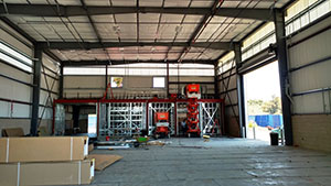 Interior of the new Rose Float Lab currently in construction