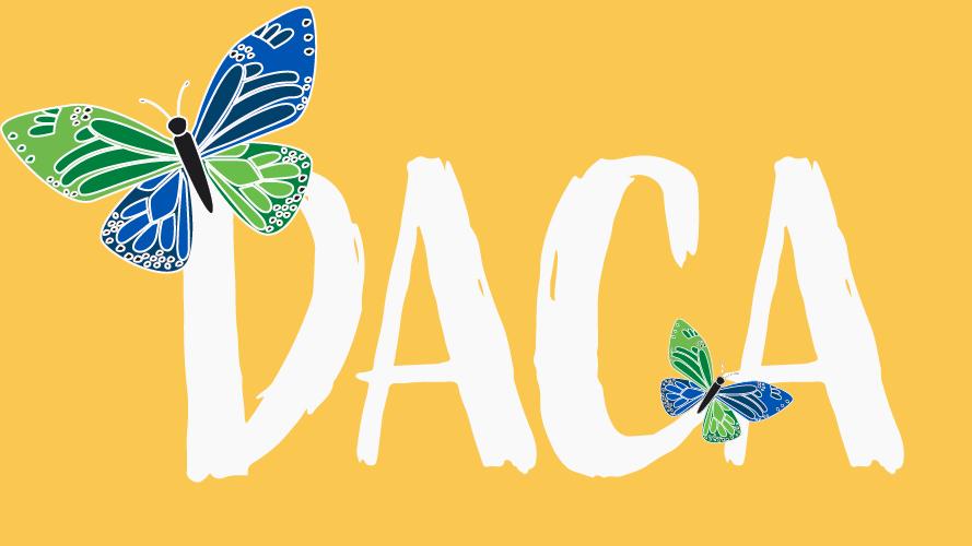 DACA text with blue butterflies