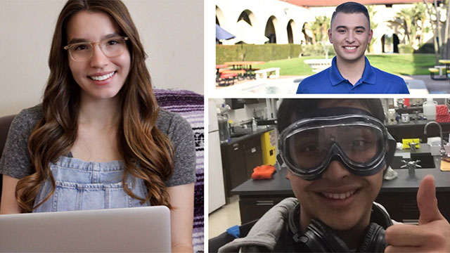 Kellogg Honors College students Lauren Sinks, left, and Cesar Valdovinos, bottom right, and engineering student Matthew Jacobson, top right