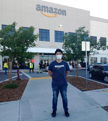Samuel Kweon in front of Amazon HQ.