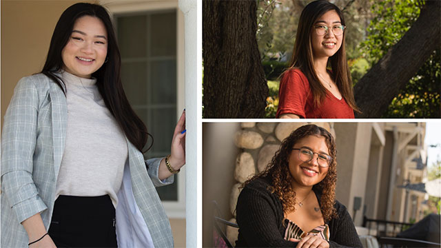Kelly Nguyen (left) Karli Cheng (top right) and Anna Watkins (bottom right).