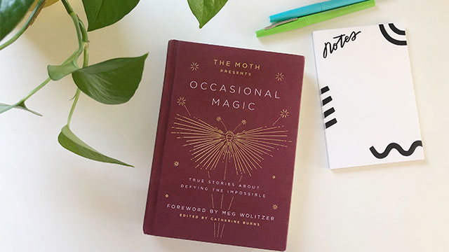 The occasional magic book on a desk with a notepad, pens and a desk plant.