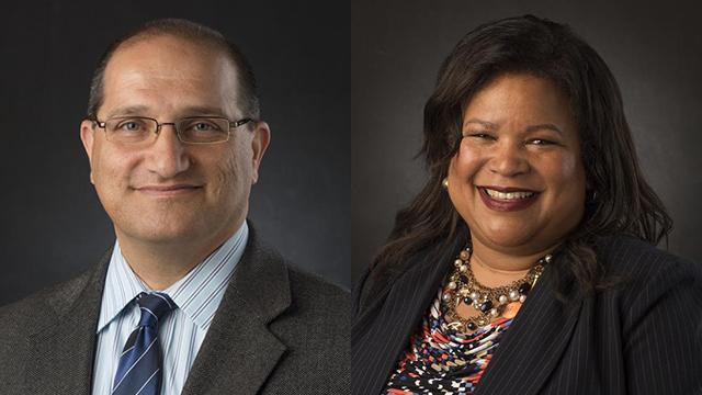Sep Eskandari, Associate Provost, and Kimberly Allain, AVP for Employee & Organizational Development & Advancement