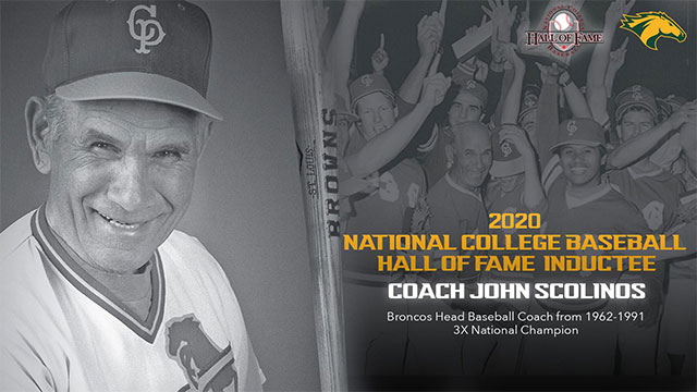 A collage featuring a photo of Coach John Scolinos and the Broncos Baseball team.