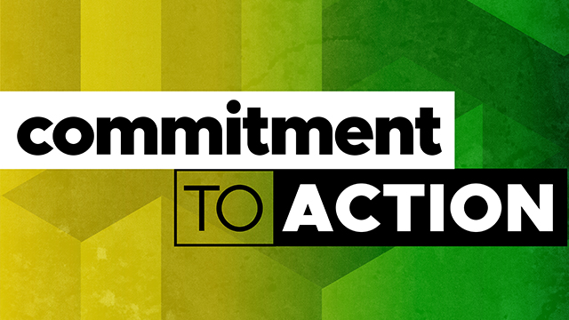 Graphic with geometric colors and shapes and the text that says Commitment to Action