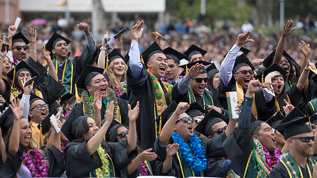 Students celebrate during the 2017 College of Science commencement ceremony.