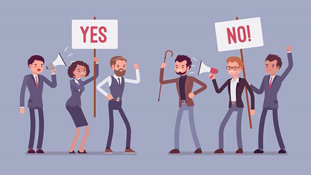 an illustration of a crowd of people holding signs up that says YES and NO