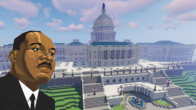 Graphic with illustration of Martin Luther King Jr.