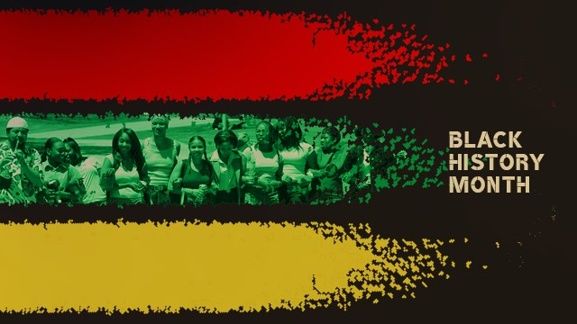 A graphic with red, green and yellow and text that says Black History Month