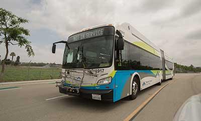 Foothill transit silver streak bus.